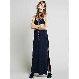 NEW Free People She Moves Maxi Slip Dress Peacock